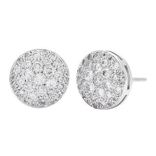 Stud Diamond Earrings 1 1/10ct TDW in 14k White Gold Pave-set by SummerRose (G-H, SI1-SI2)