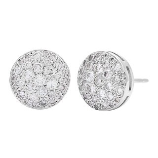 Stud Diamond Earrings 1 1/10ct TDW in 14k White Gold Pave-set by SummerRose