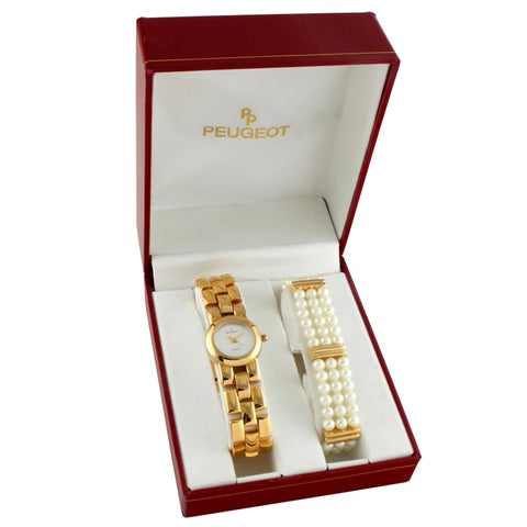 Peugeot Women's Goldtone and Glass Pearl Watch Gift Set