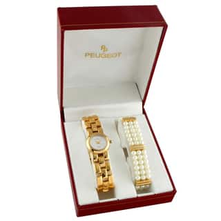 Peugeot Women's 401P Goldtone and Glass Pearl Watch Gift Set https://ak1.ostkcdn.com/images/products/9294092/P16456339.jpg?impolicy=medium