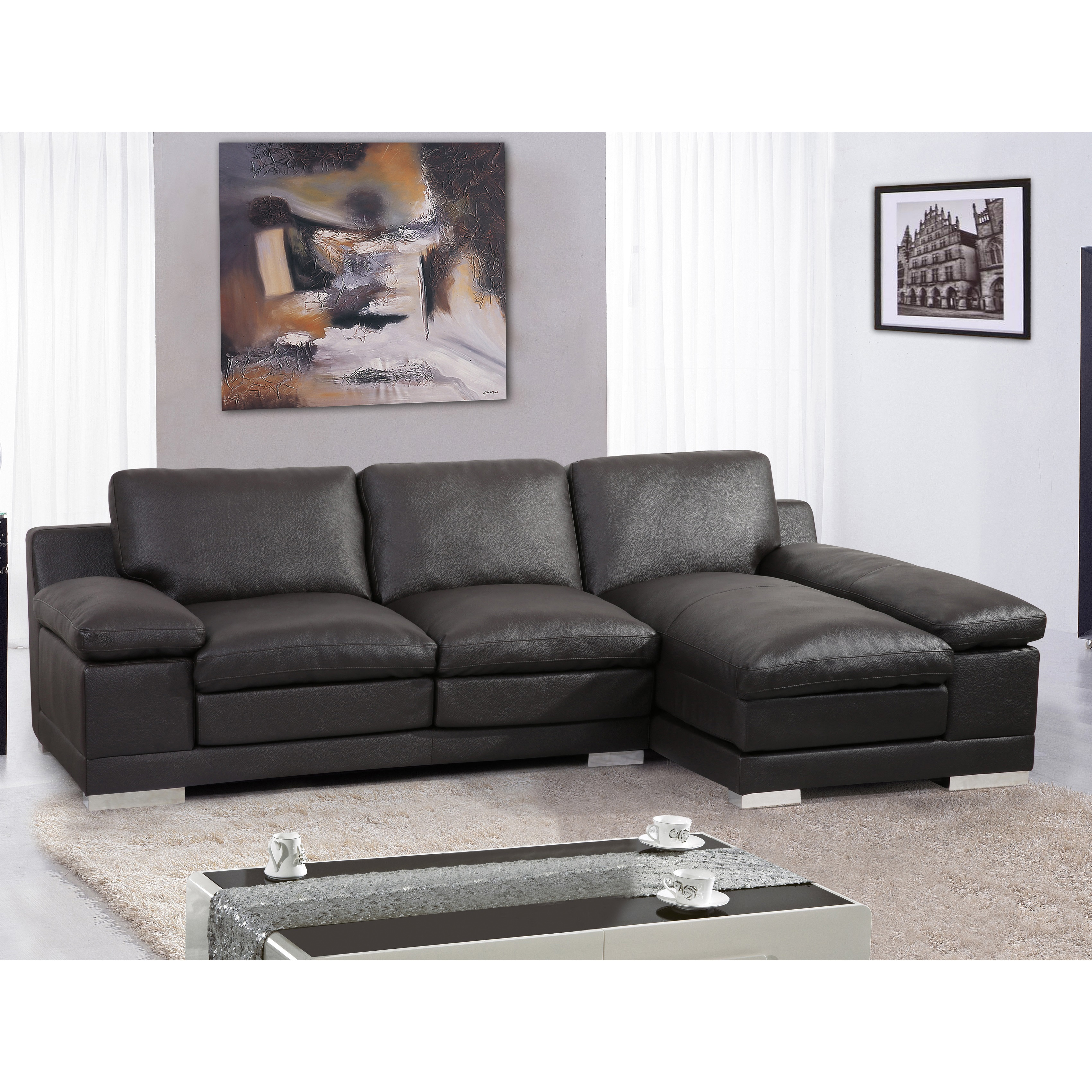 US Pride Furniture Adrian Contemporary Bonded Leather Sec...