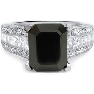Noori 18k White Gold 4 1/6 TDW Emerald-cut Black Diamond Engagement Ring