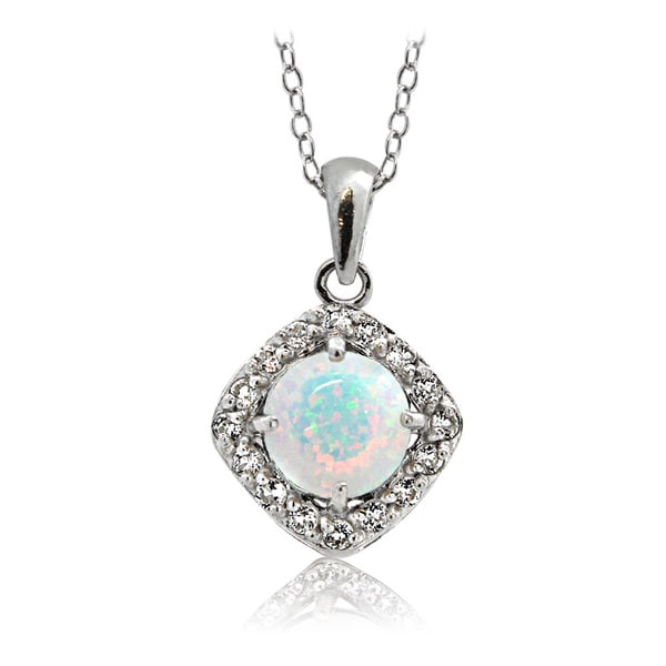 Glitzy Rocks Sterling Silver Created Opal with White Topaz Diamond Shape Necklace