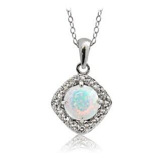 Glitzy Rocks Sterling Silver Created Opal with White Topaz Diamond Shape Necklace