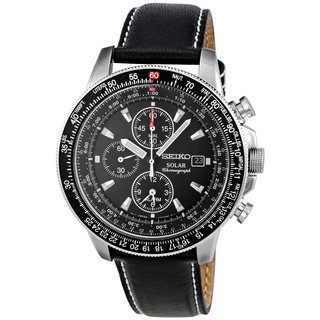 Seiko Men's SSC009P3 Solar Black Leather Watch