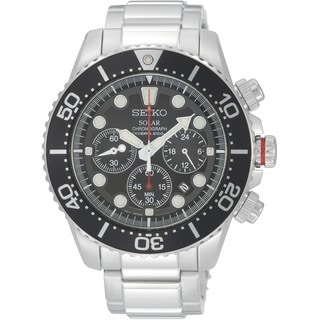 Seiko Men's SSC015P1 Solar Divers Black Chronograph Stainless Steel Watch