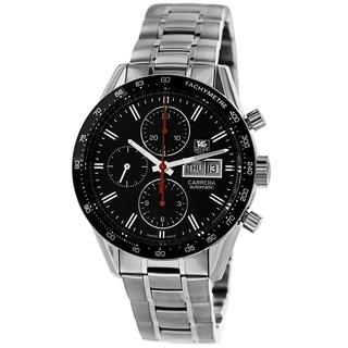 Tag Heuer Men's CV201AH.BA0725 'Carrera' Black Dial Stainless Steel Chronograph Watch