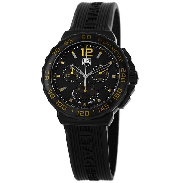 7ea0e21db74 Shop Tag Heuer Men s CAU111E.FT6024  Formula 1  Black Dial Black ...
