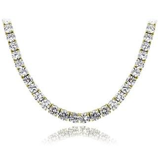 ICZ Stonez Sterling Silver 98 3/4ct TGW Cubic Zirconia Tennis Necklace