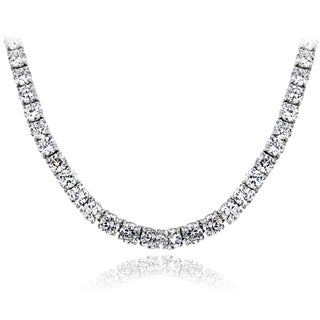 ICZ Stonez Sterling Silver 98 3/4ct TGW Cubic Zirconia Tennis Necklace