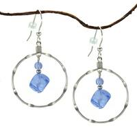 Handmade Jewelry by Dawn Large Sapphire Blue Silverplated Notched Hoop Earrings