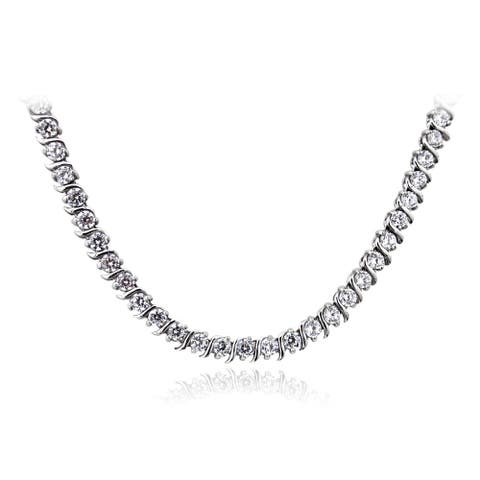 ICZ Stonez Sterling Silver 10 3/5ct TGW Cubic Zirconia S-design Tennis Necklace
