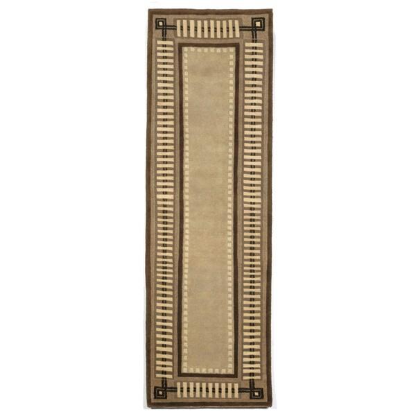 Column Border Brown Indoor Rug (2'3X8') - 2'3 x 8'