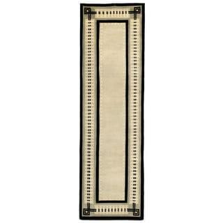 Column Border Black Indoor Rug (2'3X8')