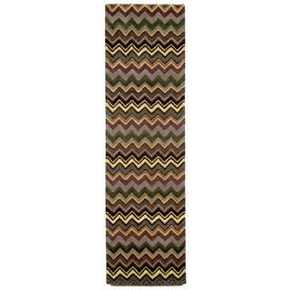 Winding Stripe Green Indoor Rug (2'3X8')
