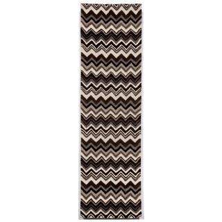 Winding Stripe Black/White Indoor Rug (2'3X8')
