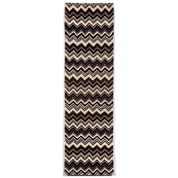 Liora Manne Winding Stripe Black/White Indoor Rug (2'3X8') - 2'3 x 8'