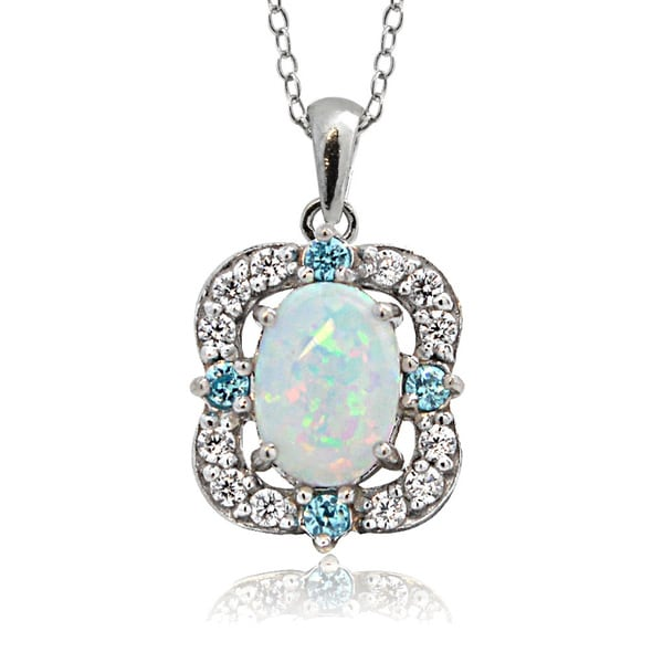 Glitzy Rocks Sterling Silver Created Opal and Cubic Zirconnia Scallop Frame Oval Necklace