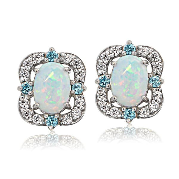 Glitzy Rocks Sterling Silver Created Opal and Cubic Zirconia Scallop Frame Oval Stud Earrings