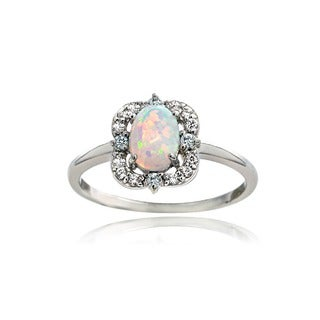 Glitzy Rocks Sterling Silver Created Opal and Cubic Zirconia Scallop Frame Oval Ring