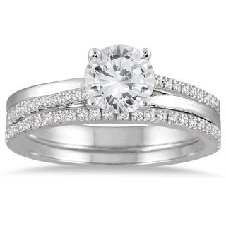 14k White Gold 1 1/4ct TDW Diamond Bridal Set