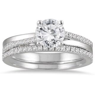 14k White Gold 1 1/4ct TDW Diamond Bridal Set