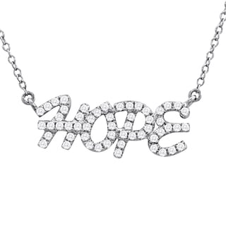 Marquee Jewels Sterling Silver 1/3ct TDW Diamond Hope Necklace (I-J, I1-I2)