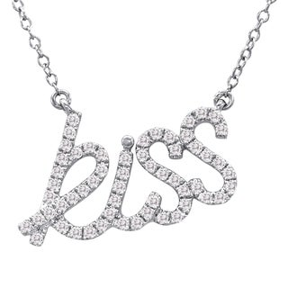 Marquee Jewels Sterling Silver 1/3ct TDW Diamond Kiss Necklace (I-J, I1-I2)