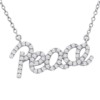 Marquee Jewels Sterling Silver 1/3ct TDW Diamond Peace Necklace (I-J, I1-I2)