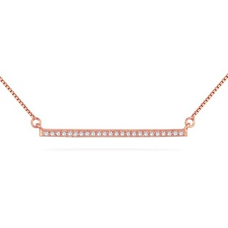Marquee Jewels 18k Rose Goldplated Sterling Silver 1/10ct TDW Diamond Trapeze Pendant Necklace (H-I, I2-I3)