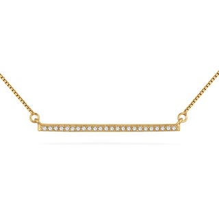 Marquee Jewels 18k Yellow Goldplated Sterling Silver 1/10ct TDW Diamond Trapeze Bar Necklace (H-I, I2-I3)