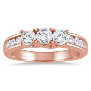 Marquee Jewels 10k Rose Gold 1ct TDW Diamond Three-stone Ring (I-J, I2-I3)