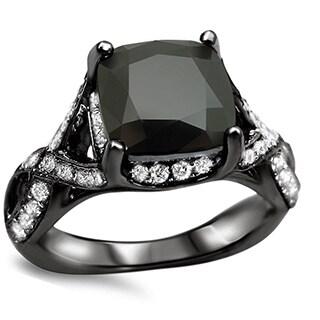 Noori 18k Black Gold 4 1/4ct TDW Black Diamond Round Ring