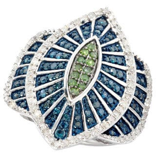 Sterling Silver 1 1/4ct TDW Blue/ Green Marquise Diamond Cocktail Ring (I2-I3)