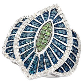 Sterling Silver 1 1/4ct TDW Blue/ Green Marquise Diamond Cocktail Ring