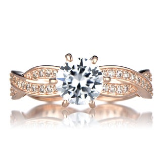 Rose Goldplated Silver Twisted Cubic Zirconia Engagement Ring