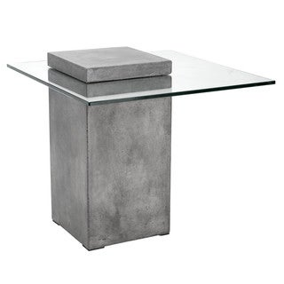 Sunpan 'MIXT' Grange Anthracite Grey Concrete Glass End Table