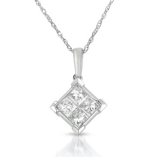 Eloquence 14k White Gold 5/8ct TDW Quad Princess-cut Diamond Solitaire Necklace