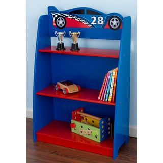 KidKraft Red and Blue Race Car Bookshelf
