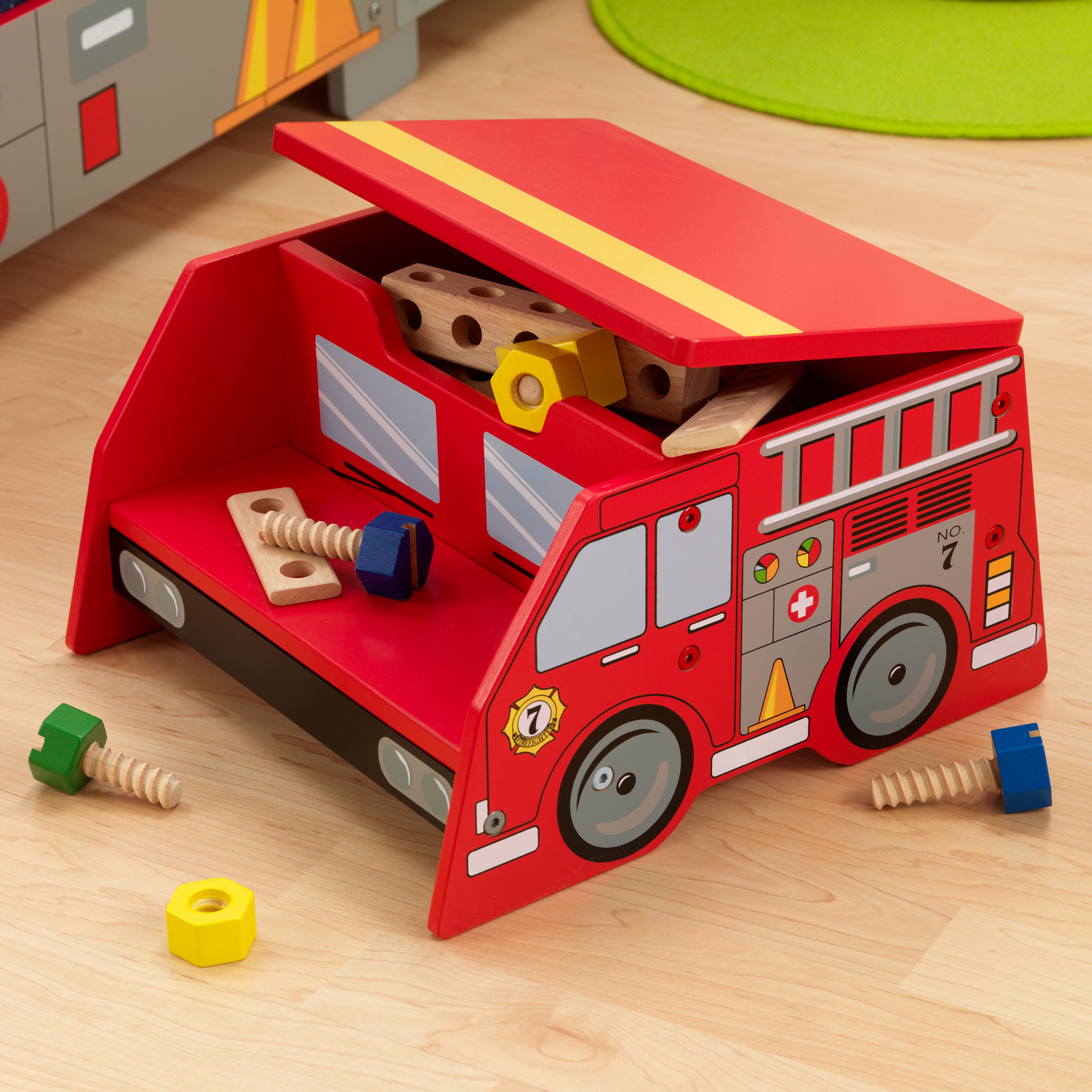 Fine Kidkraft Fire Truck Step N Store Toy Box Bralicious Painted Fabric Chair Ideas Braliciousco