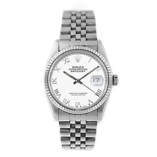 Pre-owned Rolex Men's Datejust 16014 Stainless Steel and 18k White Gold Watch