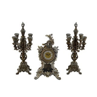 Antique Style Table Clock with Candle Holders 3-piece Set
