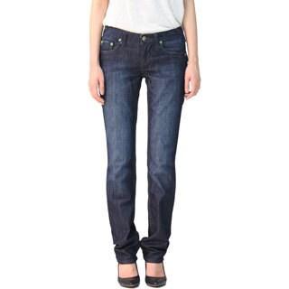 Stitch's Women's Blue Straight Leg Slim Fit Denim Jean Pants