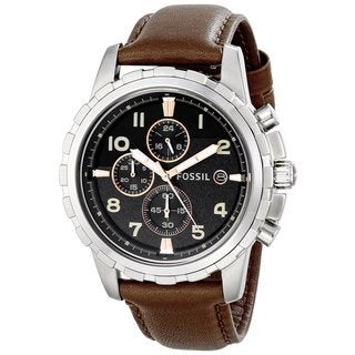 Fossil Men's Dean FS4828 Brown Leather Watch