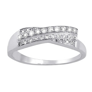 10k White Gold 1/6ct TDW Diamond Double Row Crossover Ring