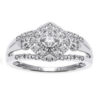 10k Gold 1/3ct TDW Diamond Halo Milgrain Ring