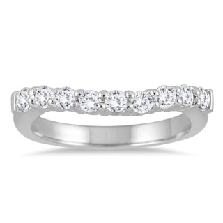 Marquee Jewels 10k White Gold 1/2ct TDW Round-cut Diamond Curve Band (I-J, I2-I3)