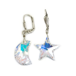 Sweet Romance Aurora Moon and Star Swarovski crystal Earrings