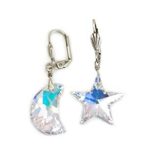 Sweet Romance Aurora Moon and Star Swarovski crystal Earrings