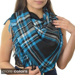 LA 77 Women's Sparkly Plaid Square Scarf